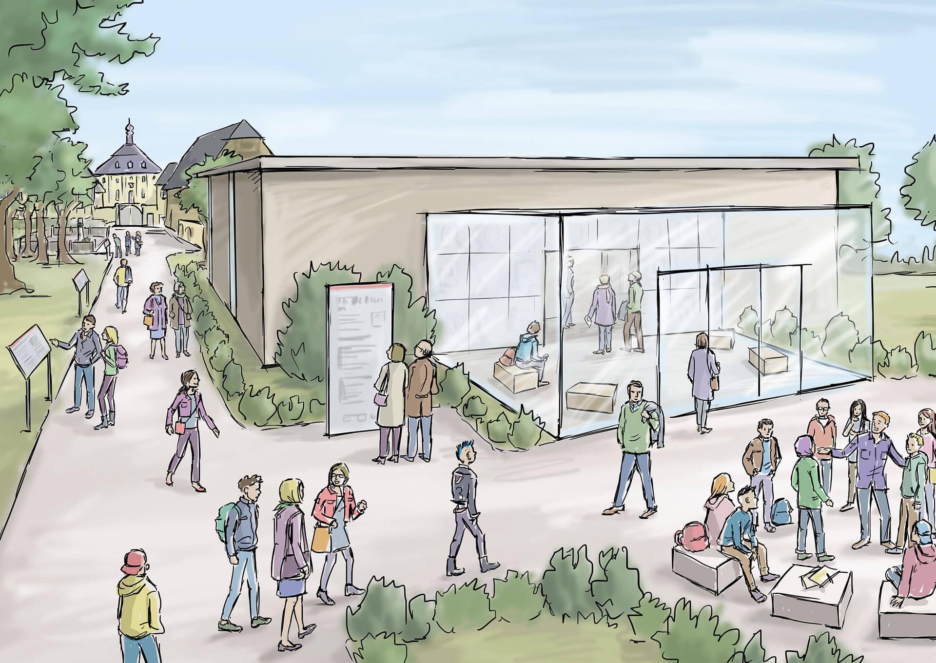 Lernort Kislau: Konzeptentwurf für den geplanten Neubau auf dem Gelände vor dem Schloss Kislau