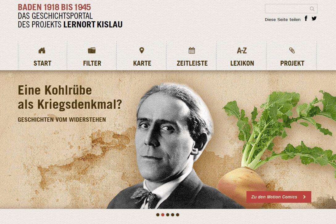 "Screenshot des Online-Geschichtsportals ""Baden 1918 bis 1945"""