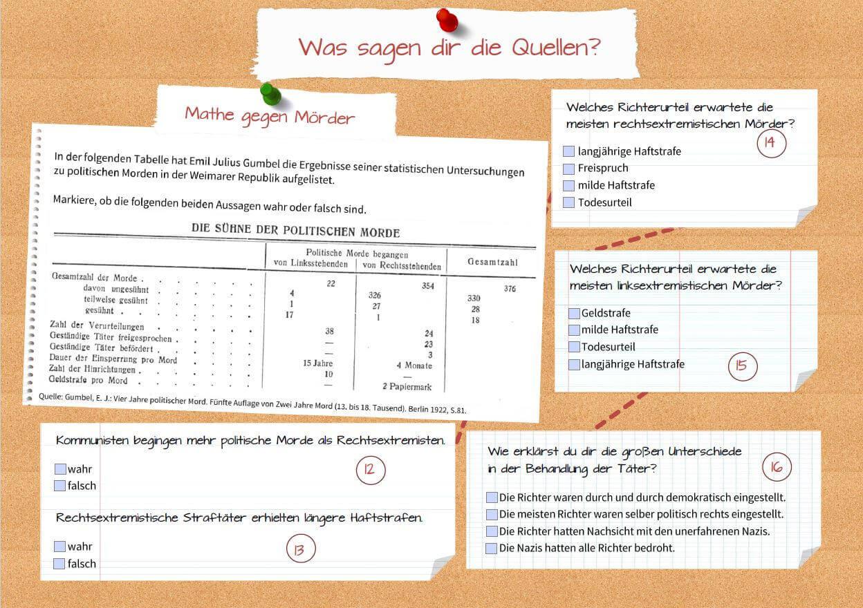 """Screenshot von beispielhaften Fragen zu einem der Motion Comics im Rahmen der Quiz-Reihe """"Geschichte bewegt"""""""
