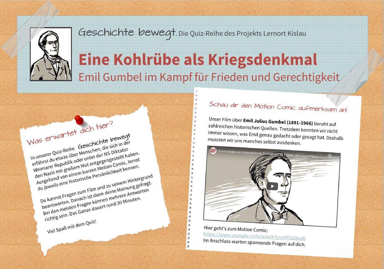"""Screenshot des Quiz """"Geschichte bewegt"""" zu dem Motion Comic mit Emil Julius Gumbel"""