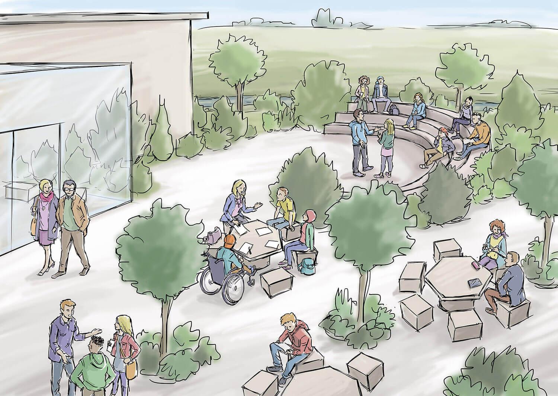 Illustrierter Konzeptentwurf des Außenbereichs vor dem Eingang des zukünftigen Lernort Kislau