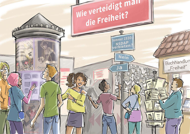 Bunt gezeichnete Menschen sehen sich in der Lobby um und entdecken die verschiedenen Ausstellungsstücke