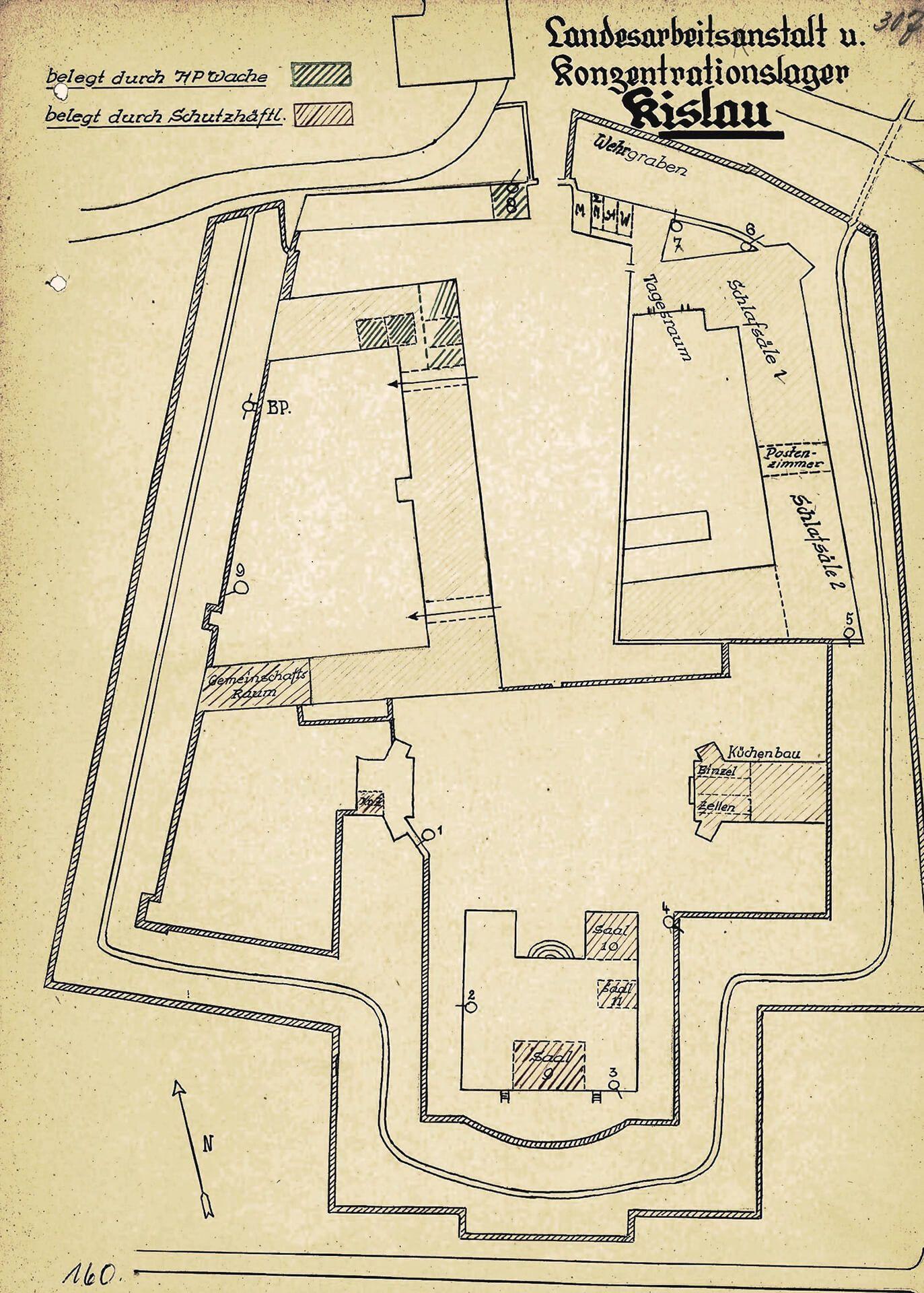 """Historischer Lageplan """"Landesarbeitsanstalt u. Konzentrationslager Kislau"""" aus dem Jahr 1933"""